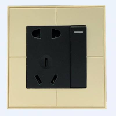 五孔带开关插座面板